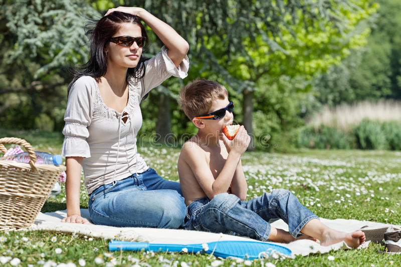 Download Little Boy With His Mom At Picnic Stock Image - Image of sunglasses, picnic: 26561875