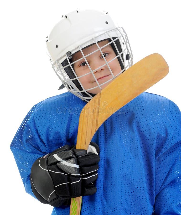 Little Boy-Hockey-Spieler stockbild