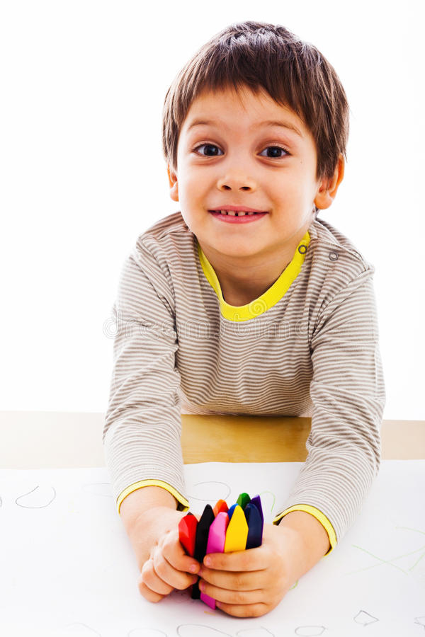 Boy Preparing To Draw Royalty Free Stock Photography