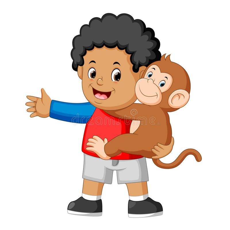 A little boy holding a funny monkey royalty free illustration