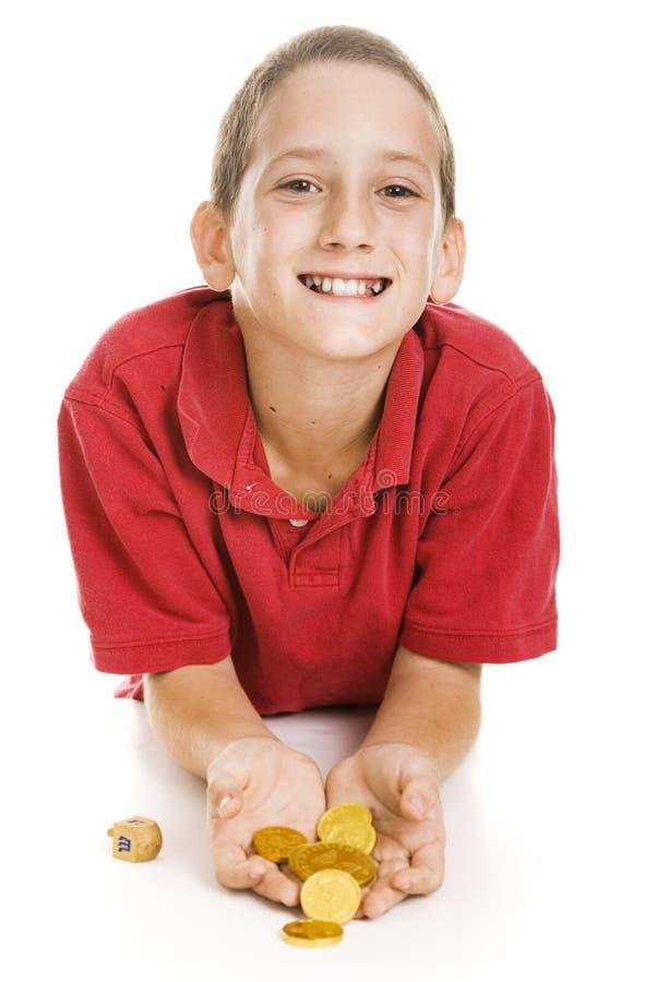 Little Boy Holding Hanukkah Gelt