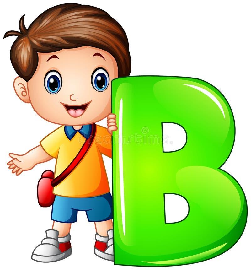 Little boy holding letter B royalty free illustration