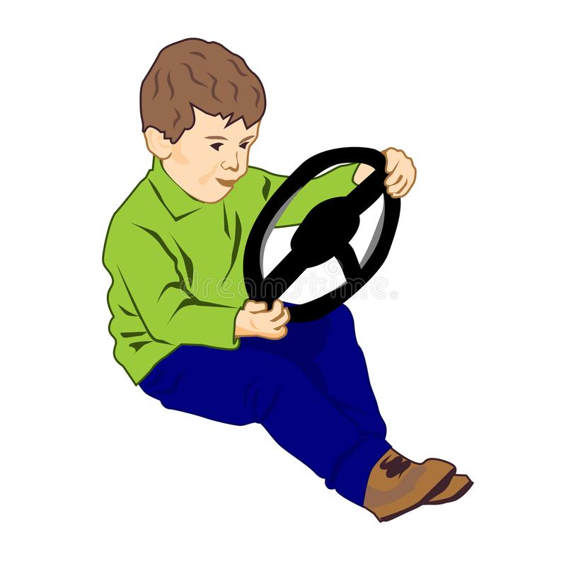 Little boy holding steering wheel - vector clipart. The child is played in the driver, dreaming to drive a car vector illustration