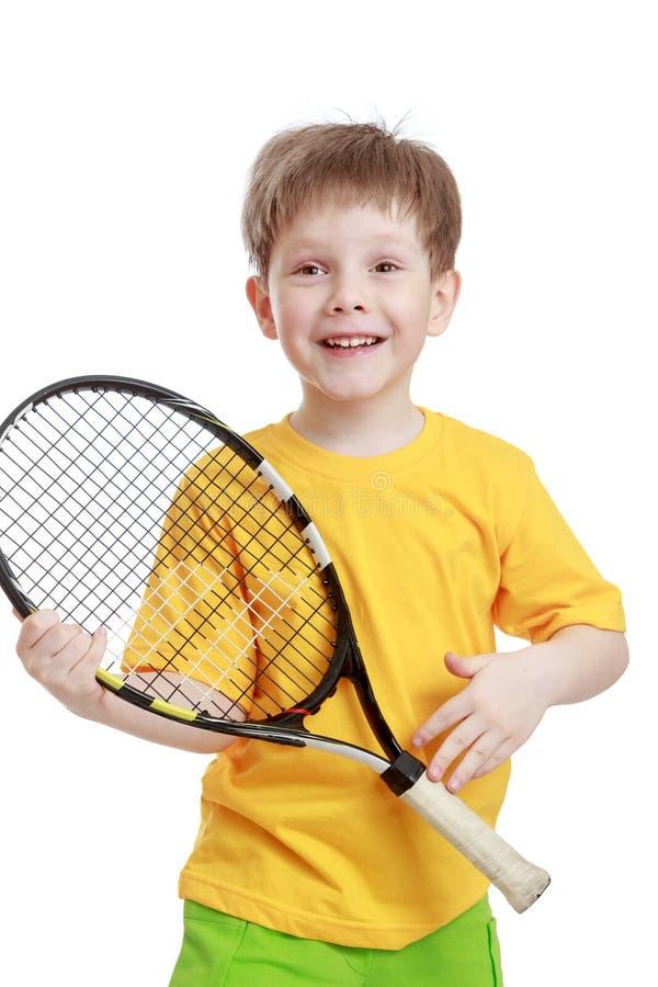 Little Boy Holding A Tennis Racket, Close-up Stock Image ...