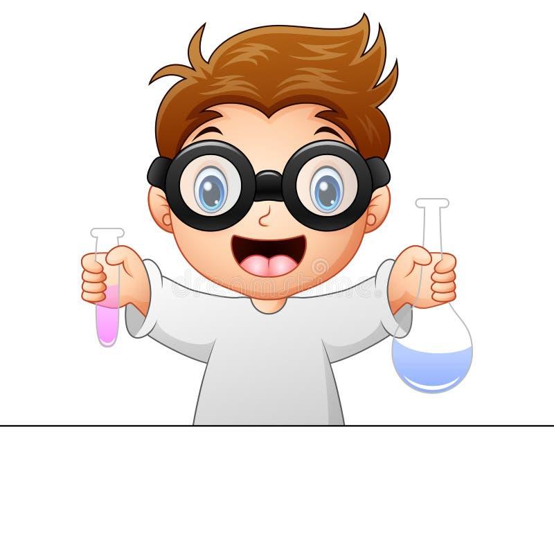 Little boy holding test tube. Illustration of Little boy holding test tube royalty free illustration