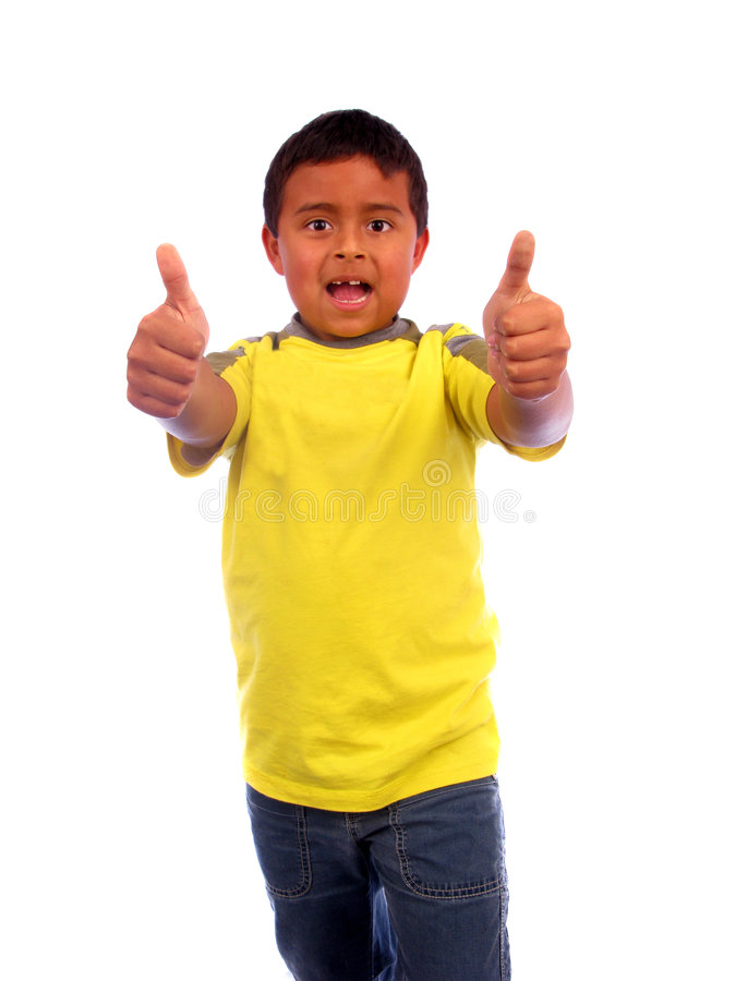 Little Boy Holding Thumbs Up. Over white stock images