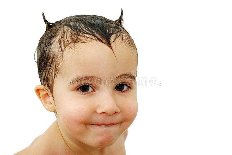 Download Little Boy With Horns Made Out Stock Image - Image of tricky, people: 12151603