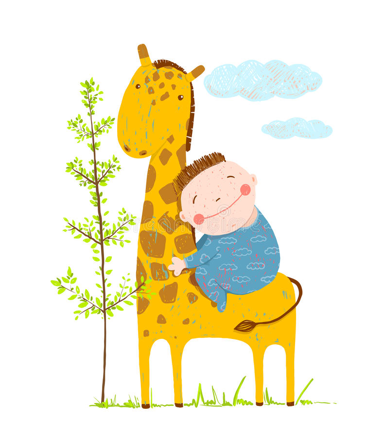 Little boy hugging a giraffe. Happy friend, child and animal, vector illustration vector illustration