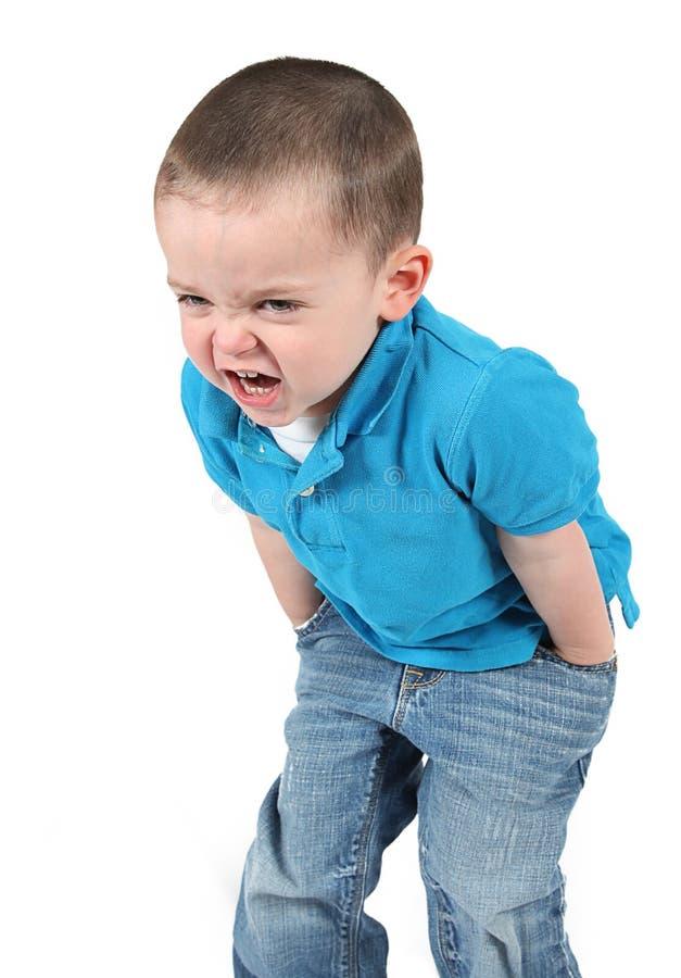 Little Boy irritado fotografia de stock
