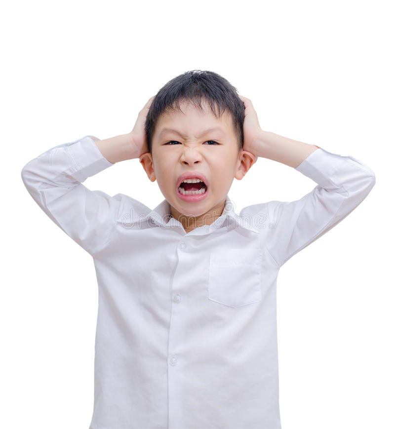 Little Boy irritado imagem de stock royalty free
