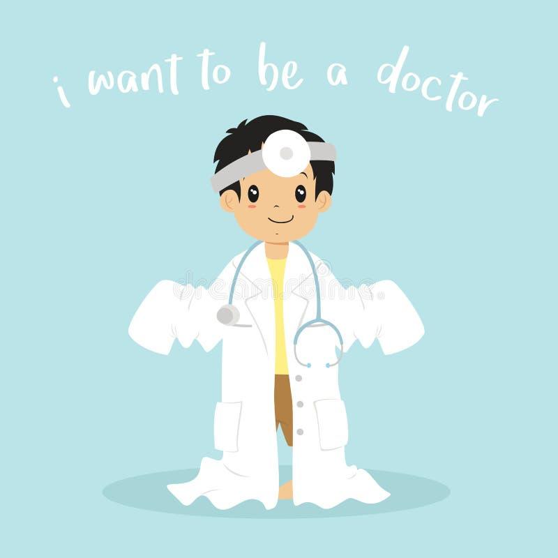 Little Boy Jest ubranym lekarki kreskówki Jednolitego wektor royalty ilustracja
