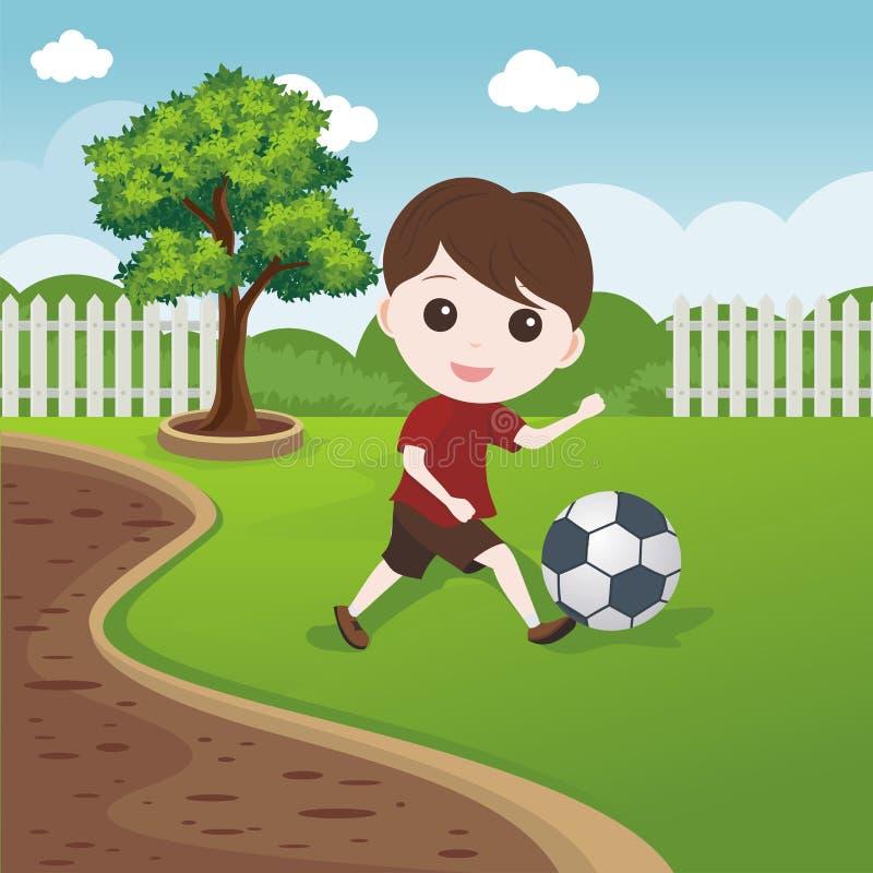 Little Boy jouant la boule sur la pelouse illustration stock