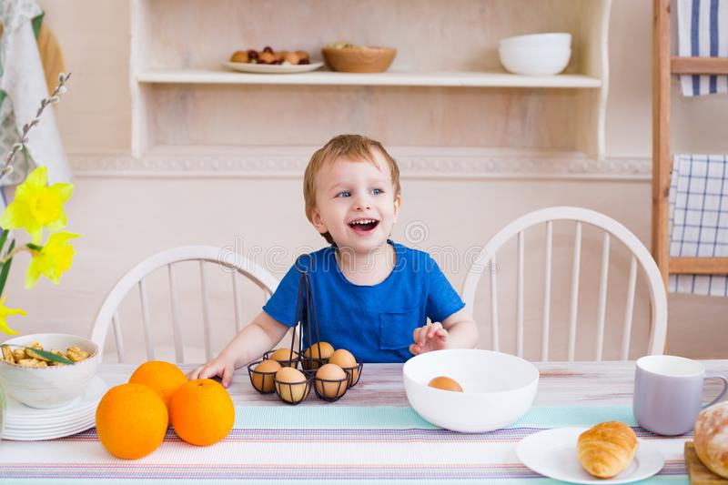 Happy childhood concept. Little boy smiling and having fun stock photo