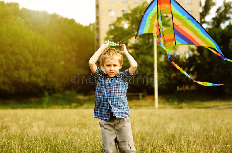 Download Little boy with kite stock image. Image of bright, caucasian - 26073713