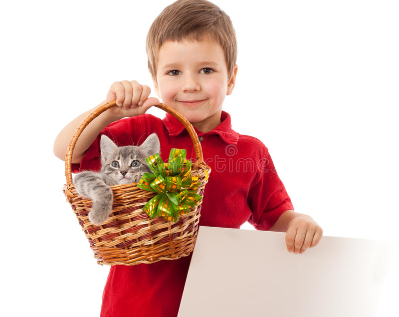 Download Little Boy With Kitty And Banner Stock Photo - Image: 21950592