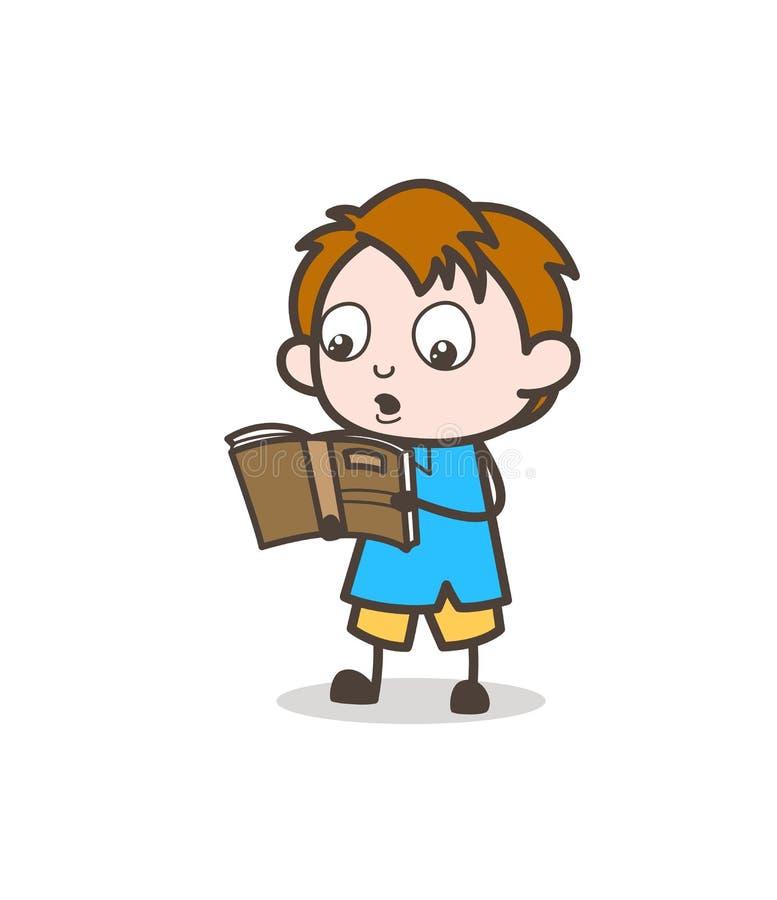 Little Boy läsebok - gullig tecknad filmungevektor royaltyfri illustrationer