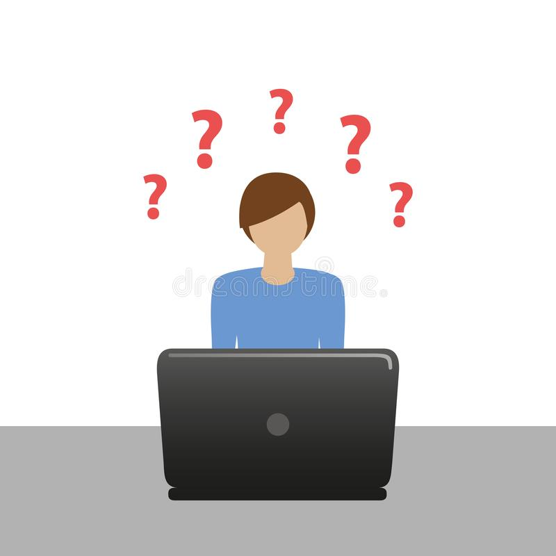 Little boy on the laptop has many question stock illustration