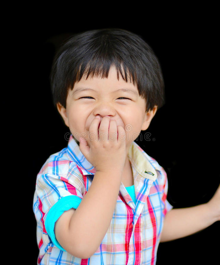 Download Little boy laughing stock image. Image of face, hand - 29005249