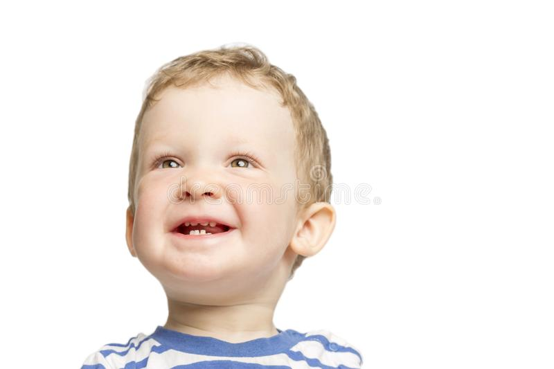 Little boy laughs close-up royalty free stock photography