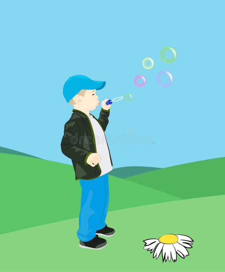 Boy blows soap bubbles. Little boy on the lawn blows soap bubbles. Cartoon vector illustration stock illustration