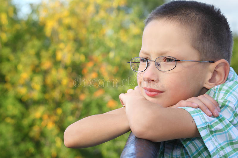 Download Little Boy Is Lean Elbow On Bridge Fence Stock Photos - Image: 13020903