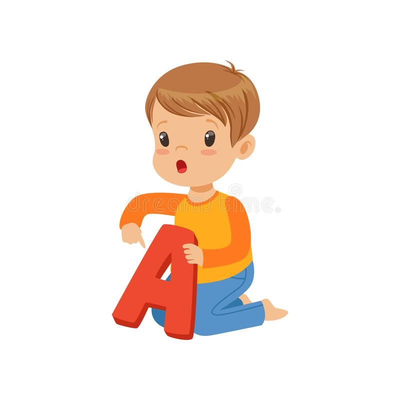 Little boy learning correct pronunciation of letter A. Fun educational game. Colorful cartoon kid character in flat. Little boy learning correct pronunciation of stock illustration