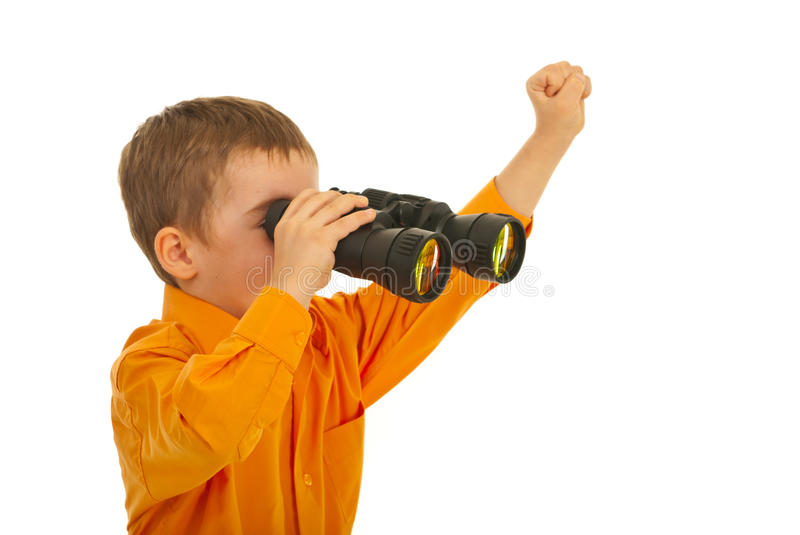 Download Little Boy Looking Through Binocular Stock Image - Image: 23422435