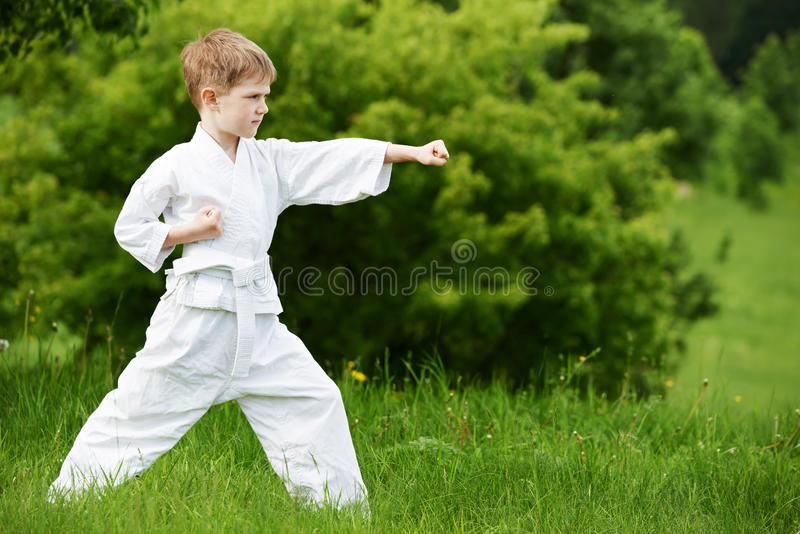 Little boy make karate exercises. One little boy in white kimono during training karate kata exercises in summer outdoors stock photo