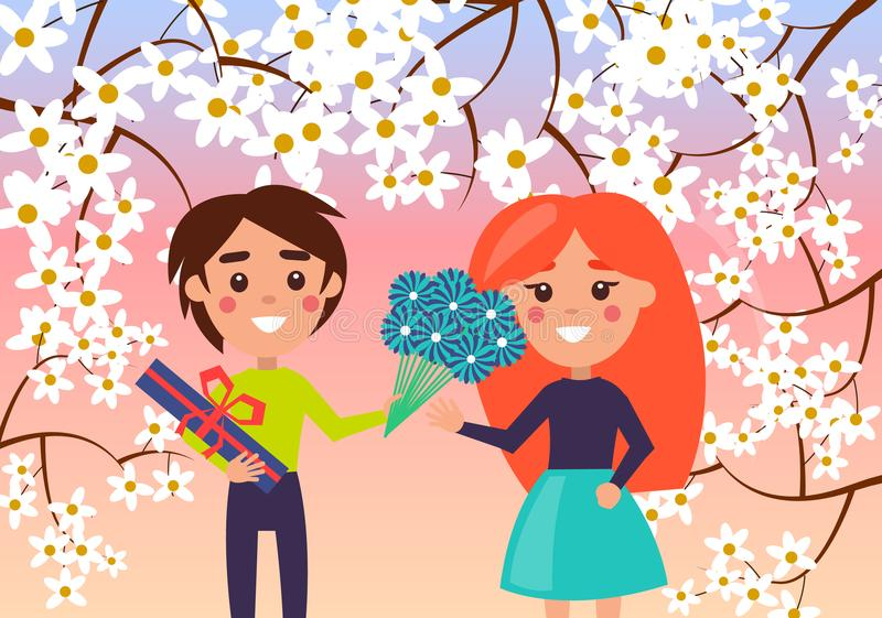 Little Boy Makes Gift to Young Girl Illustration stock illustration