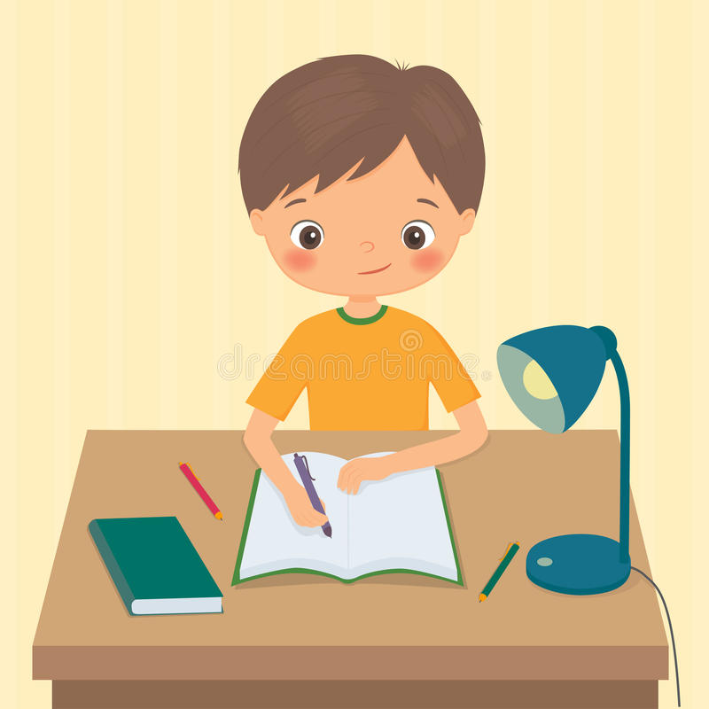 Little boy makes a homework. Cartoon vector illustration stock illustration