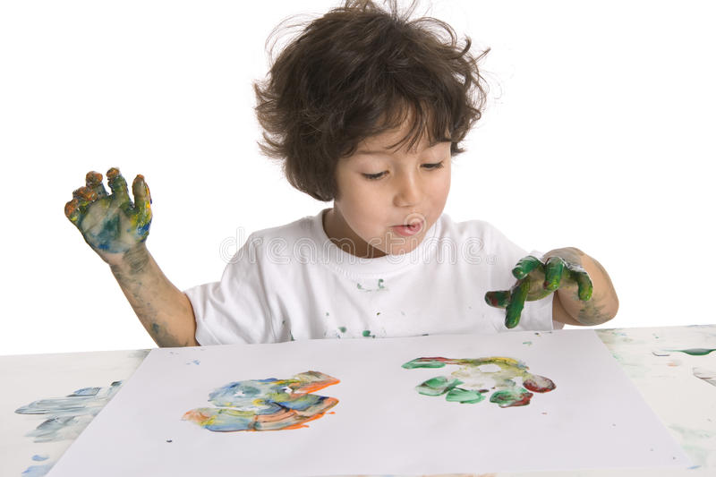 Little Boy Is Making A Finger- Painting stock photos