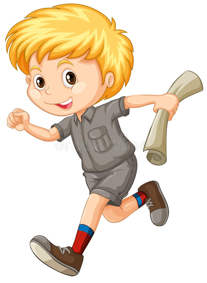 Little boy with map running. Illustration vector illustration