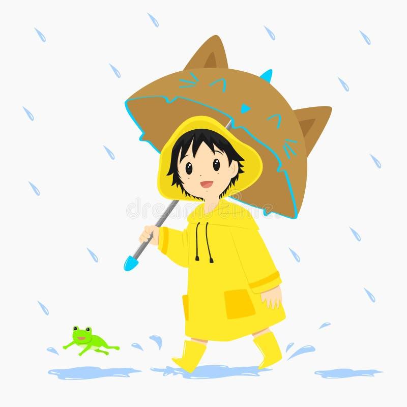 Little Boy marchant sous la pluie illustration stock