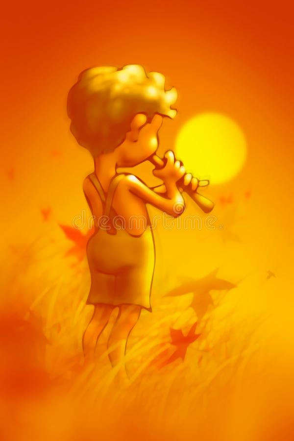 Little boy on the meadow plays the whistle in the orange glow of the autumn setting sun vector illustration