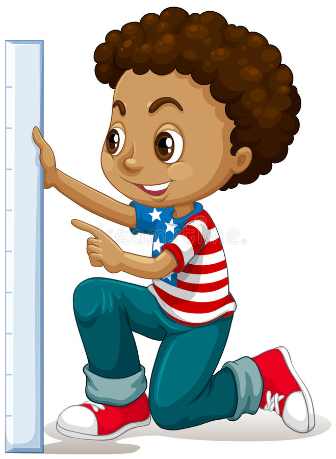 Little boy measuring with ruler vector illustration