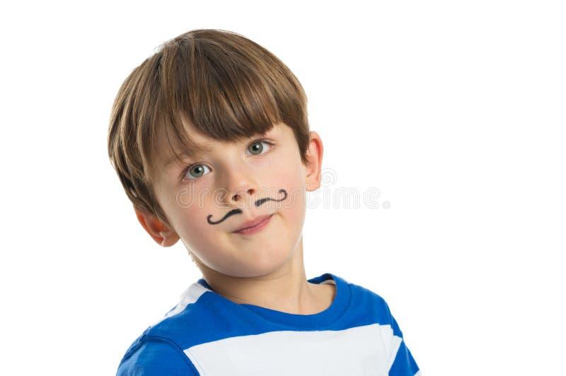 Little Boy met een Getrokken Snor stock fotografie