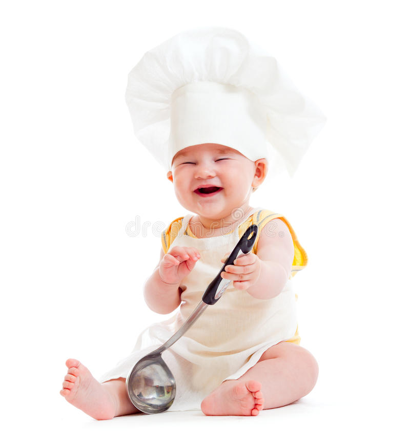 Download Little Boy With Metal Ladle And Chef Hat Isolated Stock Image - Image: 20416341