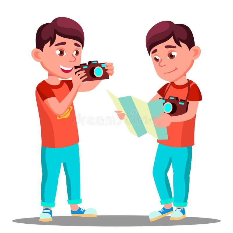 Little Boy mignon prennent une photo avec l'appareil-photo dans son vecteur de mains Illustration d'isolement illustration libre de droits