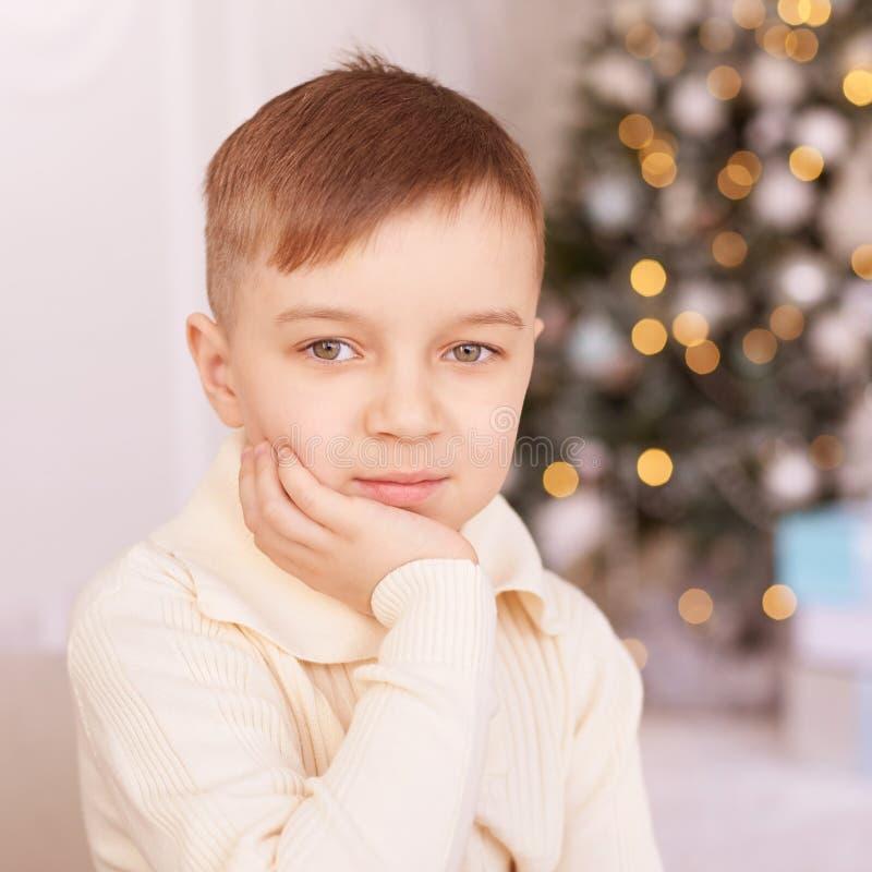 Little Boy Mooi portret Het kind van nieuwjaarkerstmis De vakantie van de Kerstmisvooravond Binnenlands royalty-vrije stock afbeelding