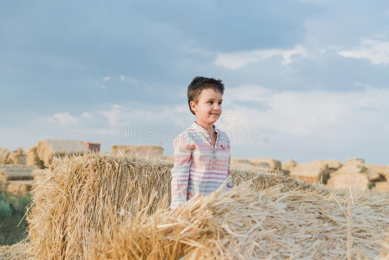 Little boy near hay bale in field. Child on farm land. Wheat yellow golden harvest in autumn. Countryside natural landscape stock image