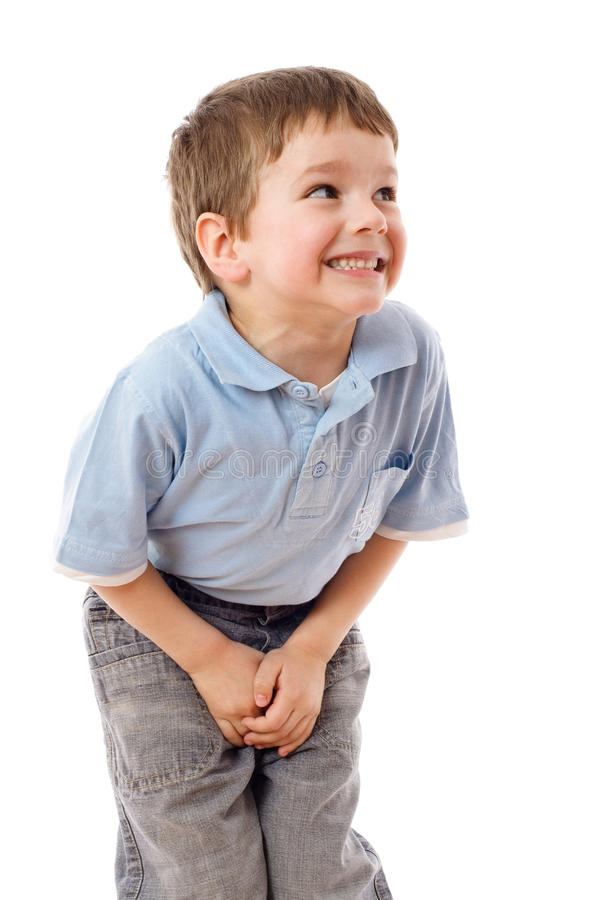 Little boy need a pee. Isolated on white royalty free stock photos