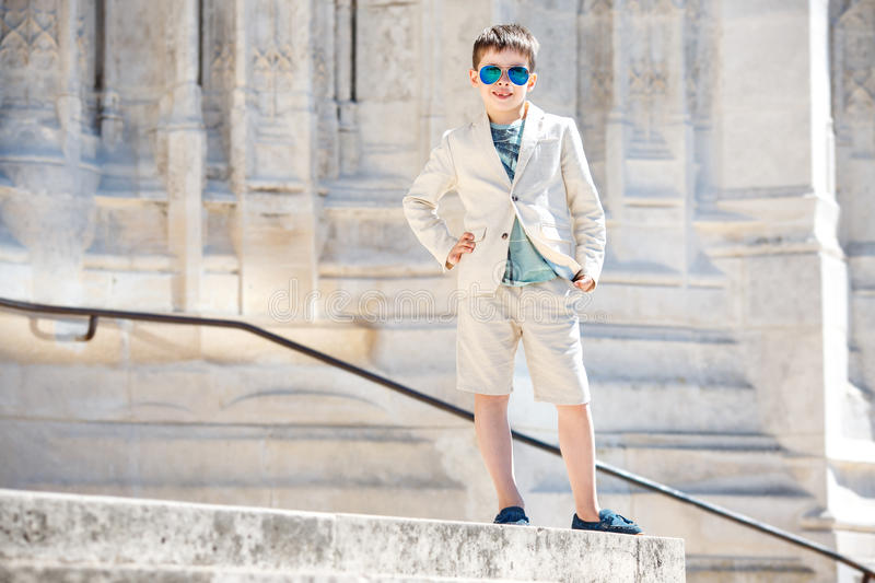 Little boy in a nice suit and glasses. Children portrait royalty free stock photography