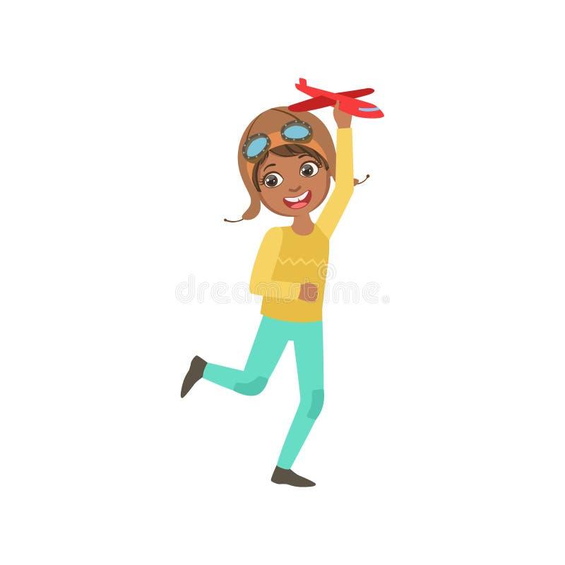 Little Boy no piloto Leather Outfit Playing do vintage que pilota o jogo plano que corre com Toy Airplane ilustração stock