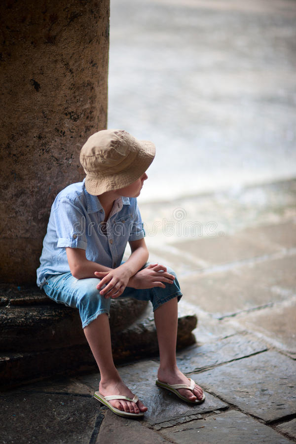 Download Little boy outdoors stock photo. Image of portrait, cute - 34022834