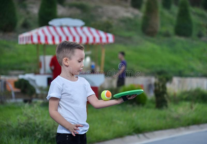 The little boy in the Park stock images