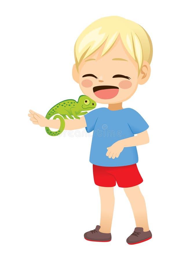 Little Boy With Pet Chameleon stock illustration
