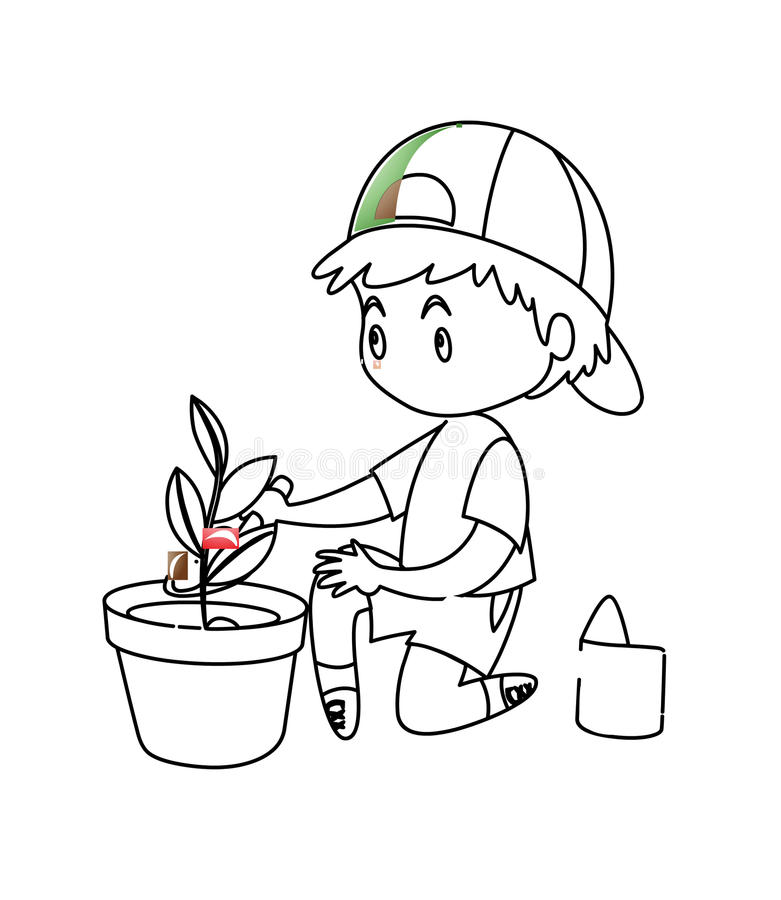 Little Boy Planting A Plant Coloring Page Stock Illustration ...