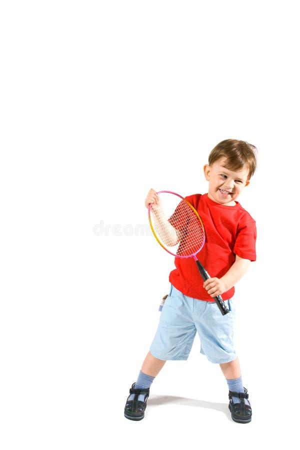 Download Little Boy Playing Badminton Stock Image - Image: 9797595