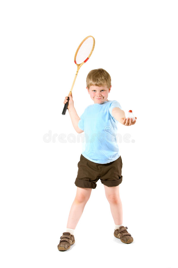 Little boy playing badminton royalty free stock photography
