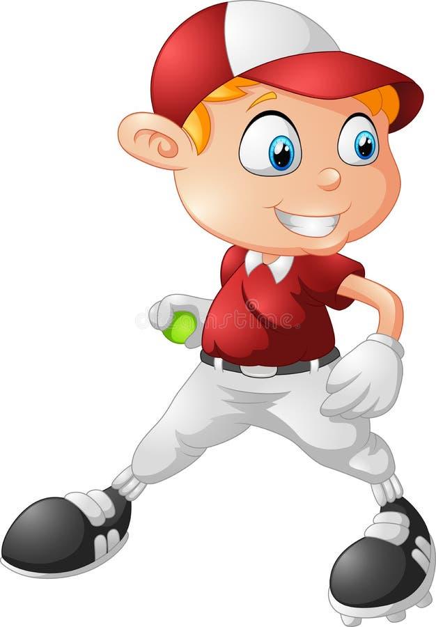 Little boy playing baseball cartoon stock illustration